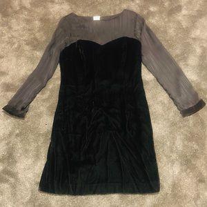 Velvet vintage dress with sheer sleeves